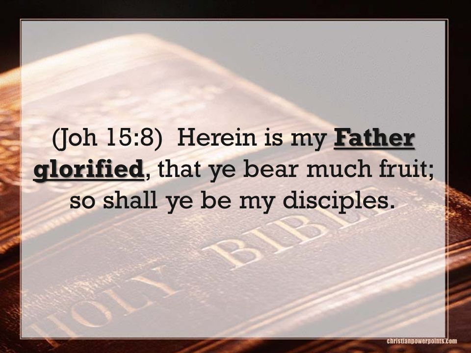 Father glorified (Joh 15:8) Herein is my Father glorified, that ye bear much fruit; so shall ye be my disciples.
