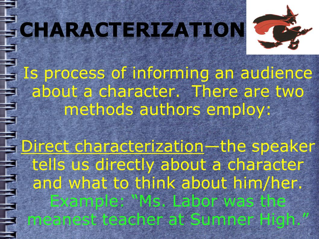 Is process of informing an audience about a character.