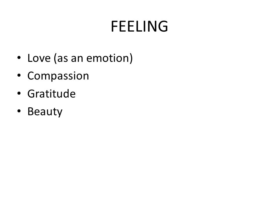FEELING Love (as an emotion) Compassion Gratitude Beauty