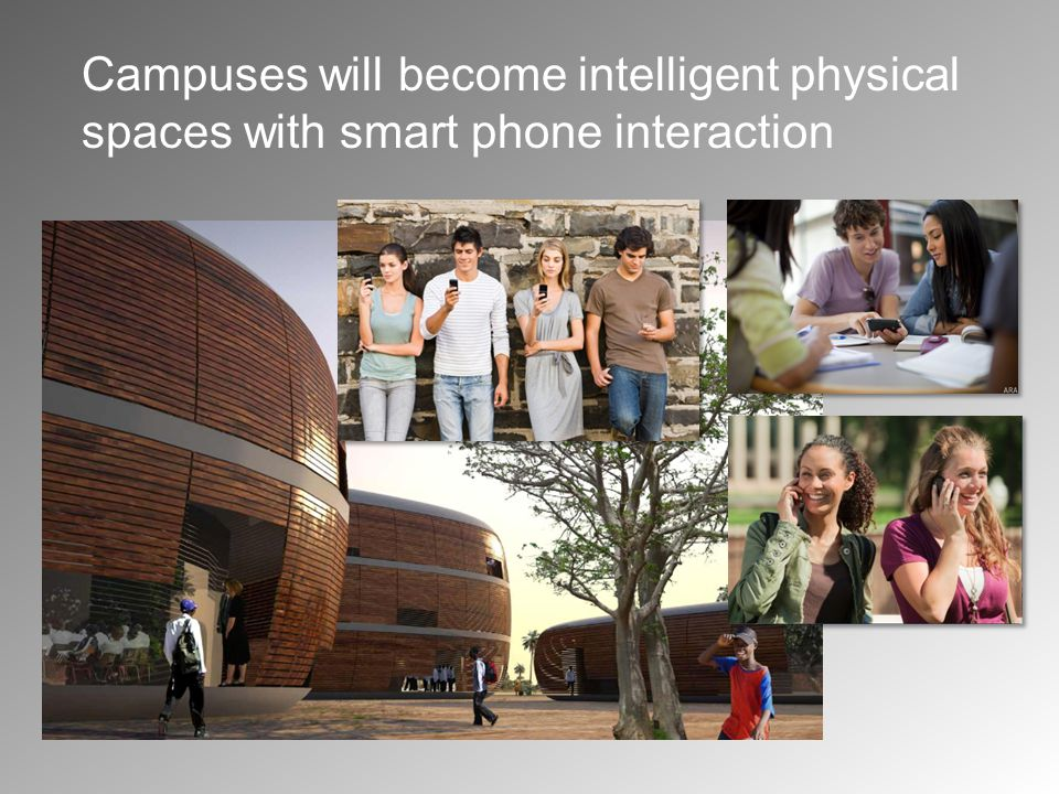 Campuses will become intelligent physical spaces with smart phone interaction