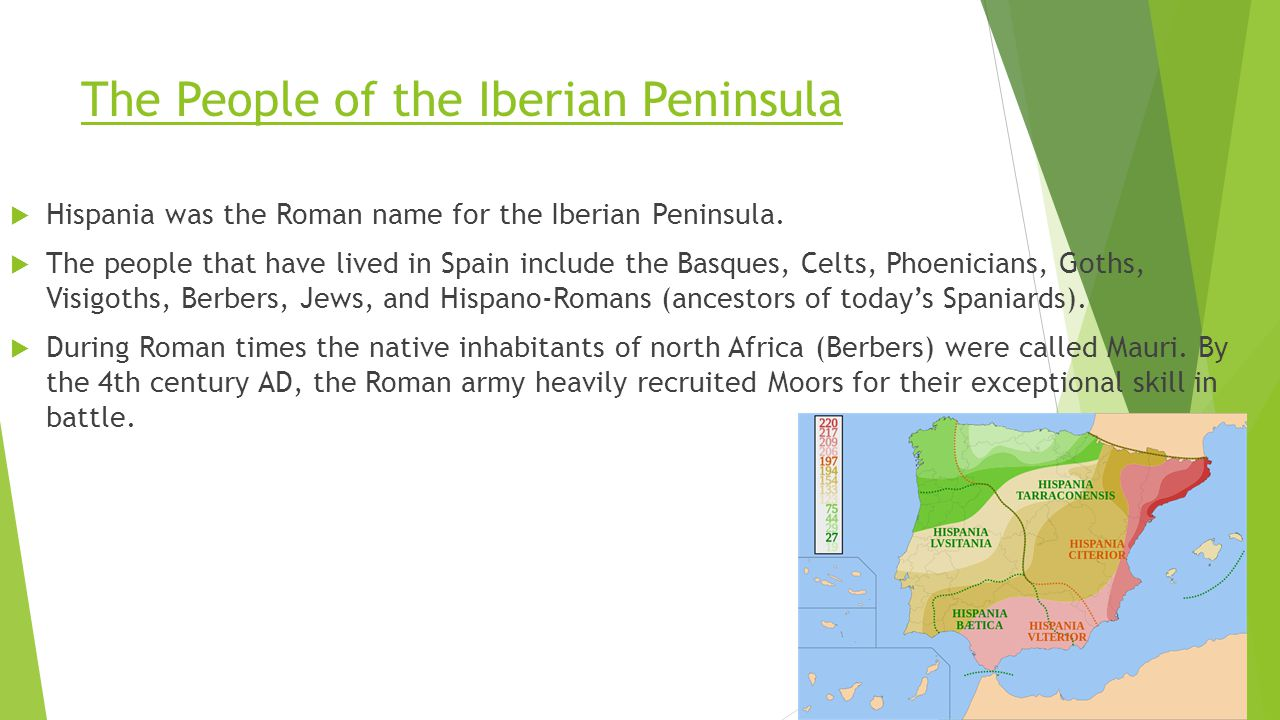The People of the Iberian Peninsula  Hispania was the Roman name for the Iberian Peninsula.  The people that have lived in Spain include the Basques