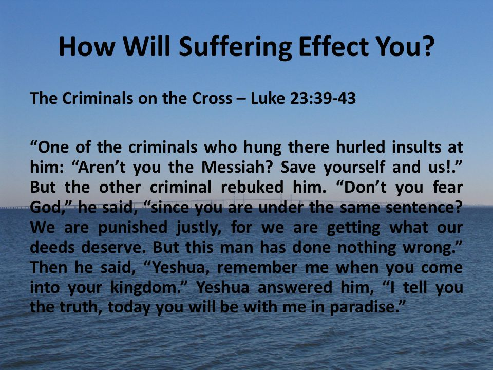 How Will Suffering Effect You.