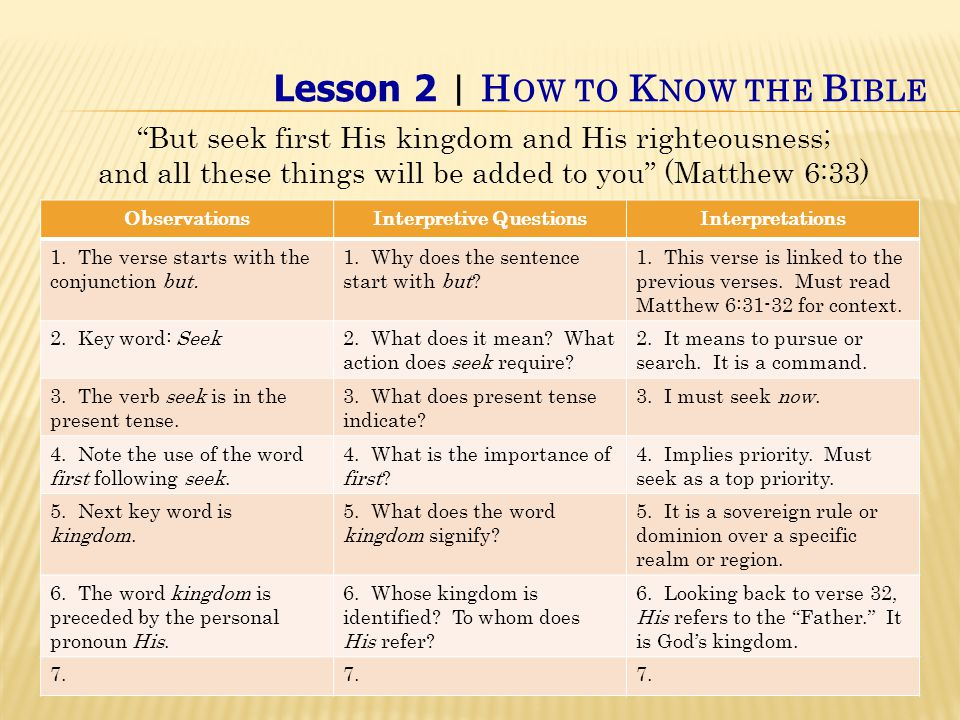 Lesson 2 | H OW TO K NOW THE B IBLE But seek first His kingdom and His righteousness; and all these things will be added to you (Matthew 6:33) ObservationsInterpretive QuestionsInterpretations 1.