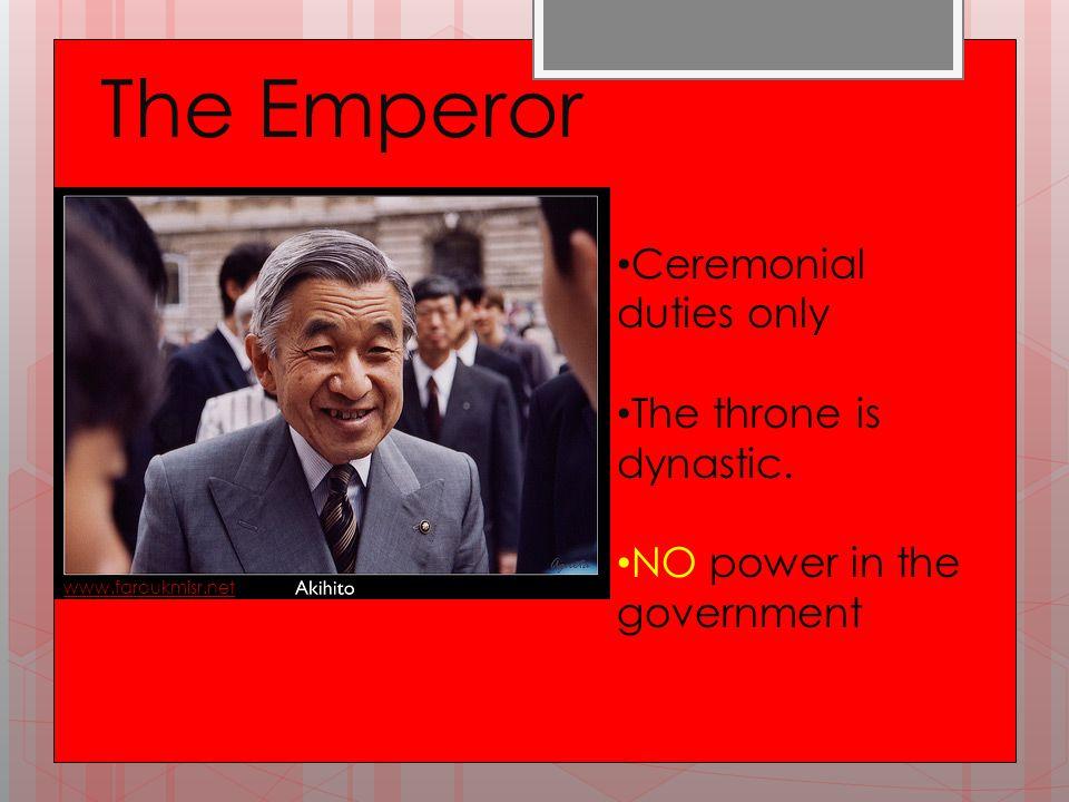 Emperor www.faroukmisr.net Ceremonial duties only The throne is dynastic.