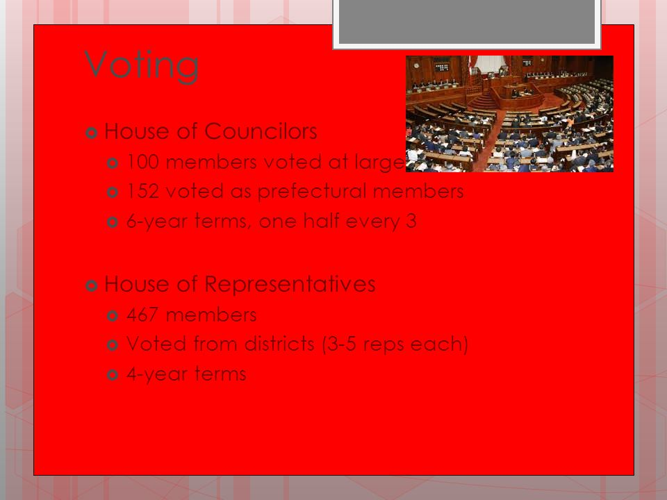 Voting  House of Councilors  100 members voted at large  152 voted as prefectural members  6-year terms, one half every 3  House of Representativ