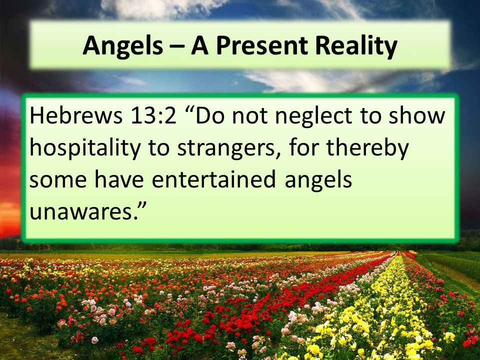 """Angels – A Present Reality Hebrews 13:2 """"Do not neglect to show hospitality to strangers, for thereby some have entertained angels unawares."""""""