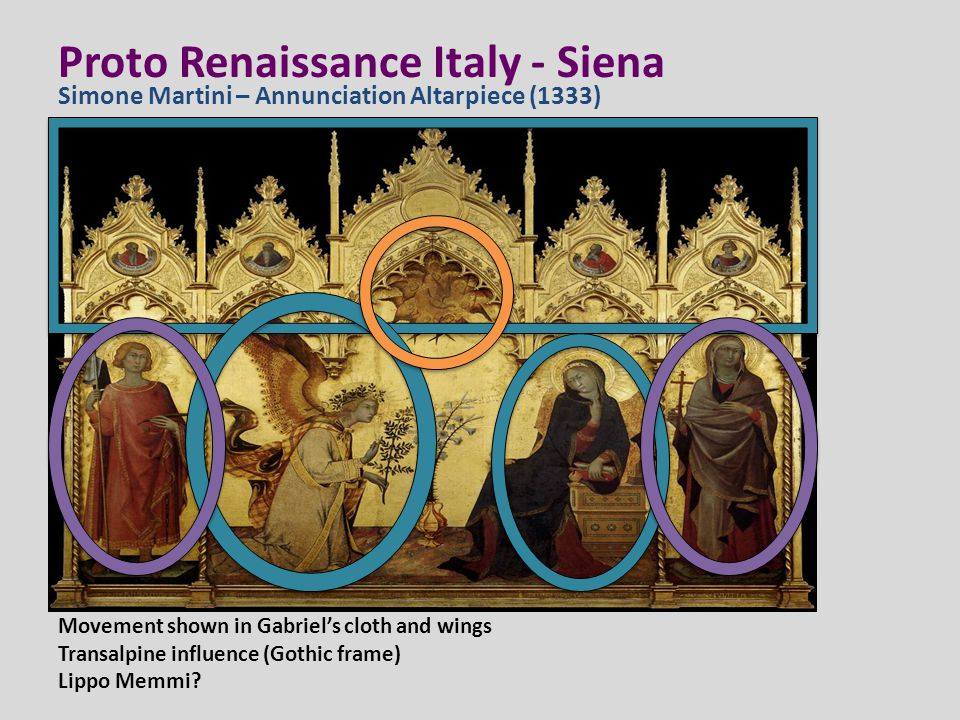 Proto Renaissance Italy - Siena Movement shown in Gabriel's cloth and wings Transalpine influence (Gothic frame) Lippo Memmi? Simone Martini – Annunci