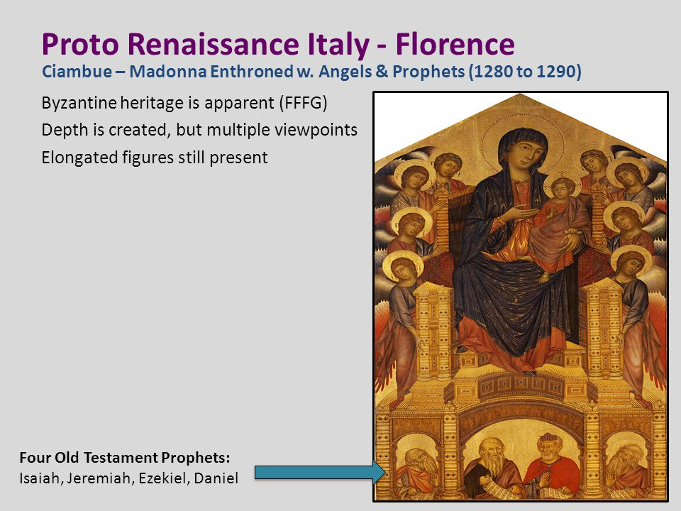 Proto Renaissance Italy - Florence Giotto di Bondone (1266 to 1337) Renowned in his own day, his reputation has never faltered.
