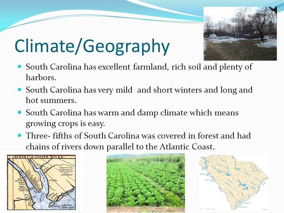 Climate/Geography South Carolina has excellent farmland, rich soil and plenty of harbors.