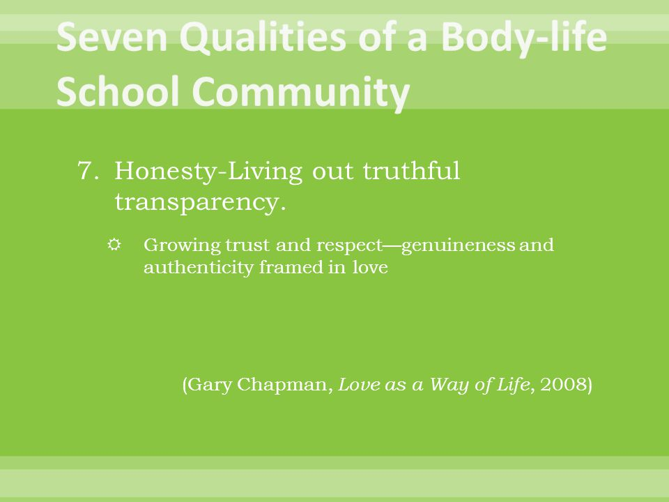 7.Honesty-Living out truthful transparency.