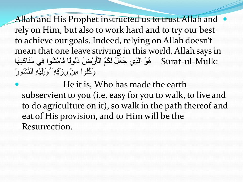 Allah and His Prophet instructed us to trust Allah and rely on Him, but also to work hard and to try our best to achieve our goals.