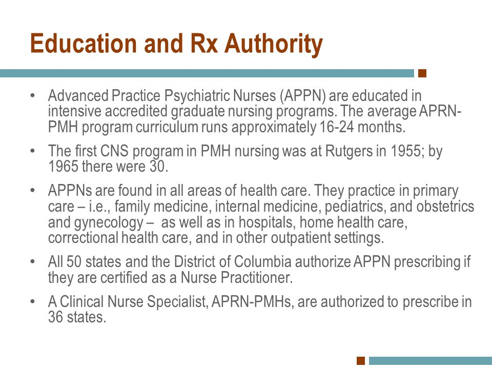 Education and Rx Authority Advanced Practice Psychiatric Nurses (APPN) are educated in intensive accredited graduate nursing programs. The average APR