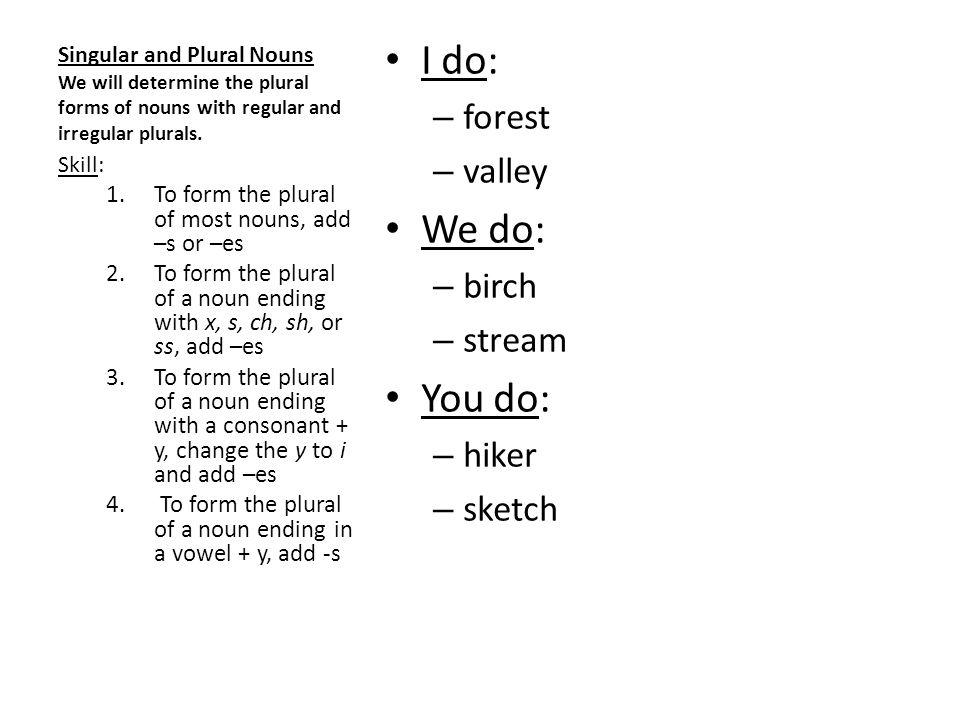 Singular and Plural Nouns We will determine the plural forms of nouns with regular and irregular plurals. I do: – forest – valley We do: – birch – str