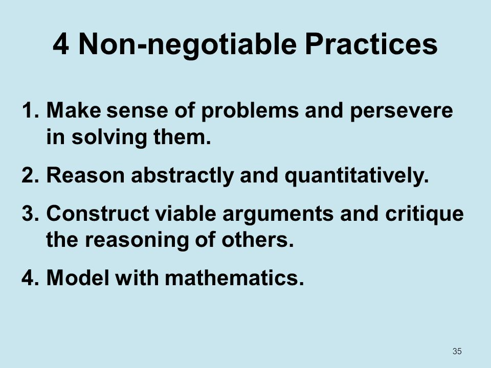 4 Non-negotiable Practices 1.Make sense of problems and persevere in solving them.