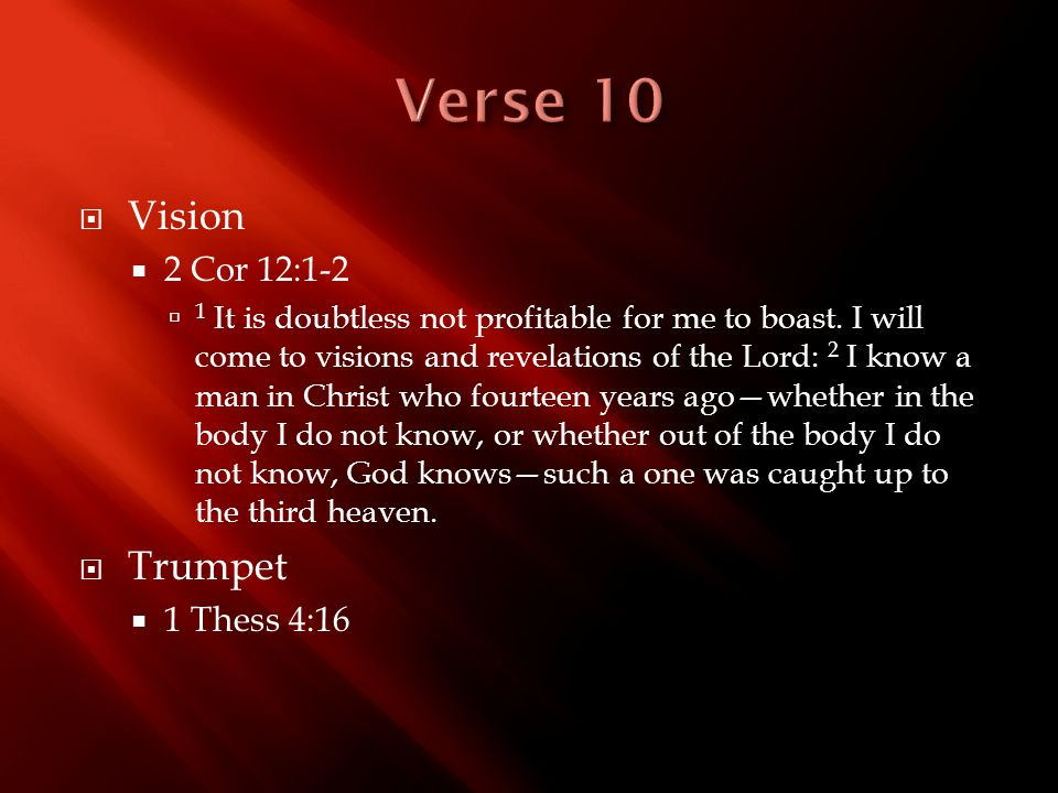  Vision  2 Cor 12:1-2  1 It is doubtless not profitable for me to boast. I will come to visions and revelations of the Lord: 2 I know a man in Chri