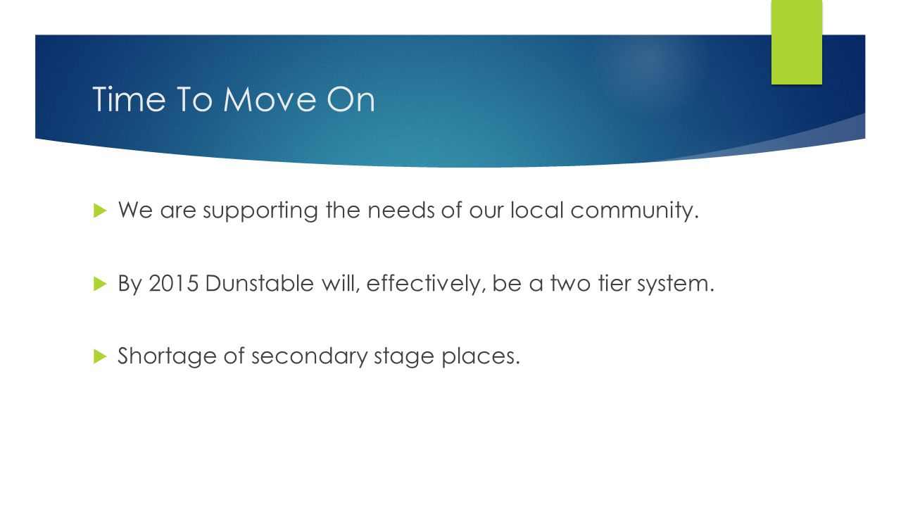 Time To Move On  We are supporting the needs of our local community.