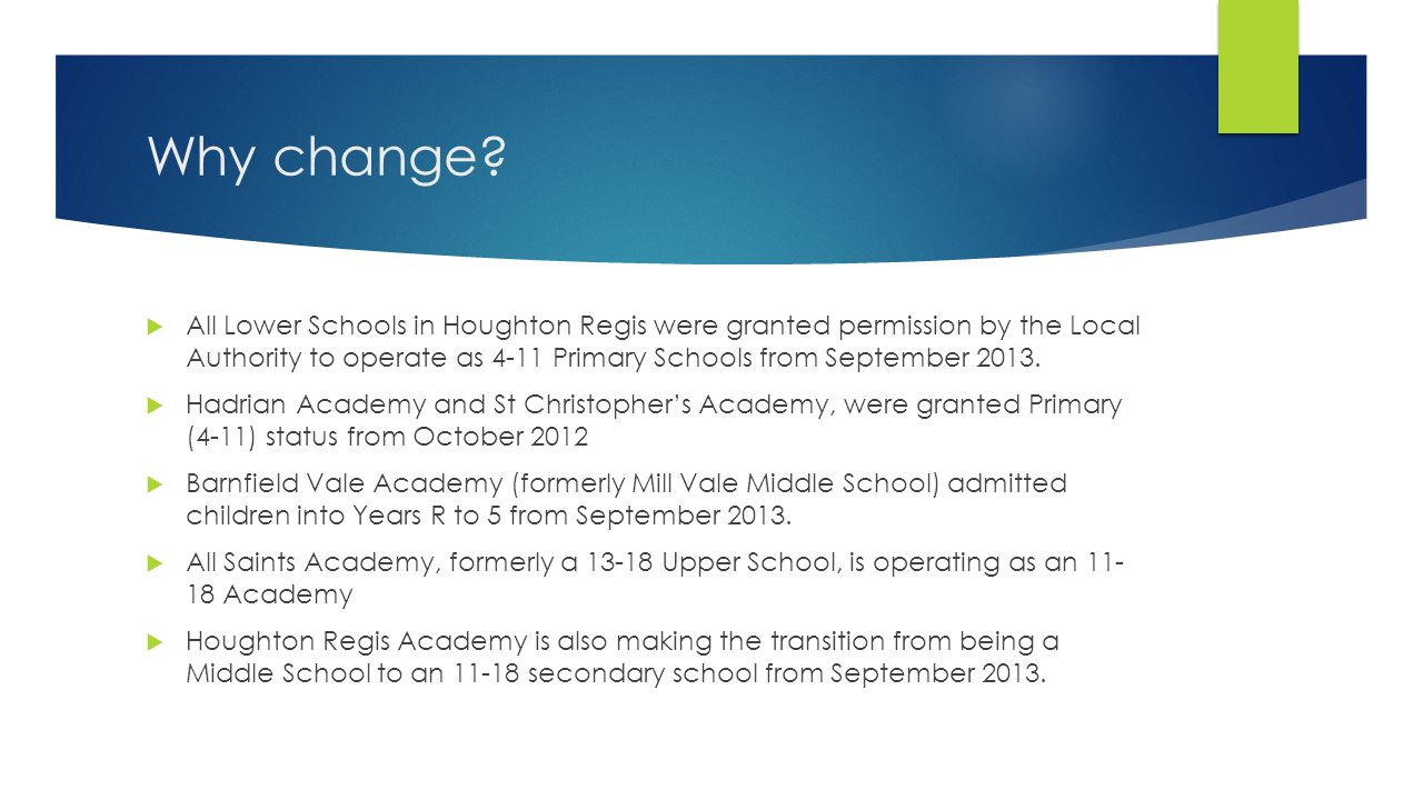 Why change?  All Lower Schools in Houghton Regis were granted permission by the Local Authority to operate as 4-11 Primary Schools from September 201