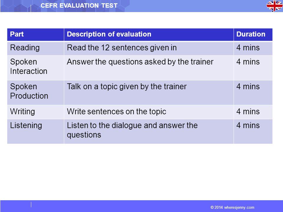 © 2014 wheresjenny.com CEFR EVALUATION TEST PartDescription of evaluationDuration ReadingRead the 12 sentences given in4 mins Spoken Interaction Answe