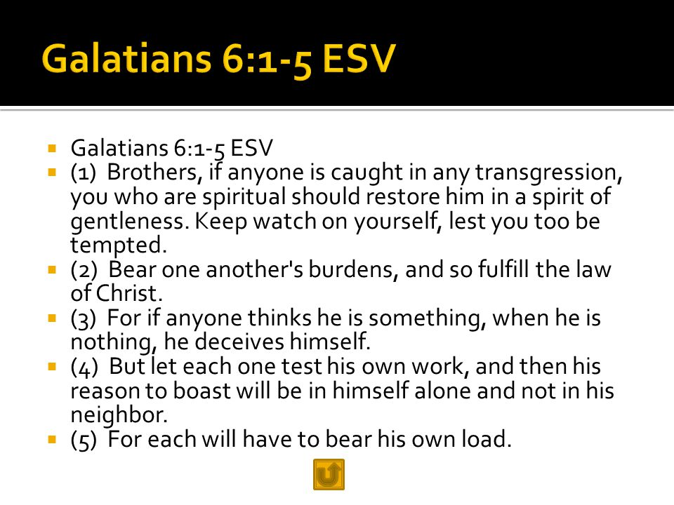  Galatians 6:1-5 ESV  (1) Brothers, if anyone is caught in any transgression, you who are spiritual should restore him in a spirit of gentleness. Ke