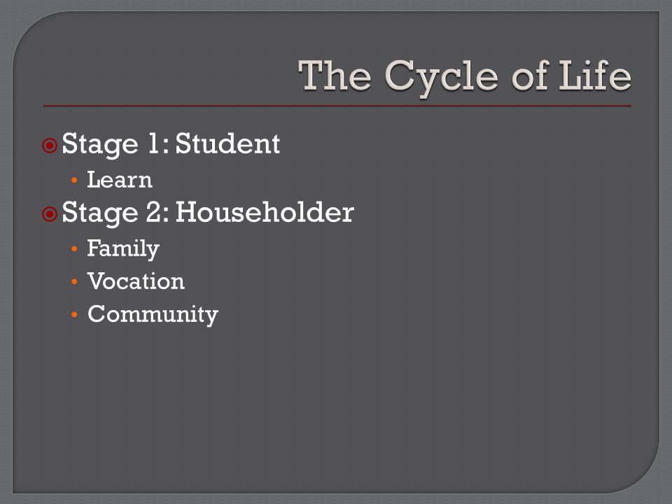  Stage 1: Student Learn  Stage 2: Householder Family Vocation Community