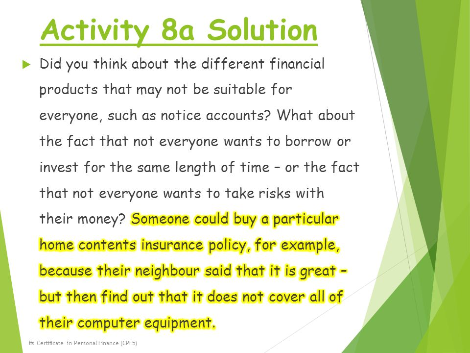 Activity 8a Solution ifs Certificate in Personal Finance (CPF5)