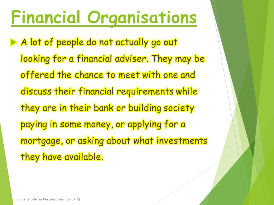 Financial Organisations ifs Certificate in Personal Finance (CPF5)