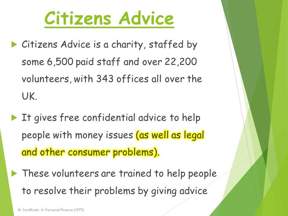 Citizens Advice ifs Certificate in Personal Finance (CPF5)