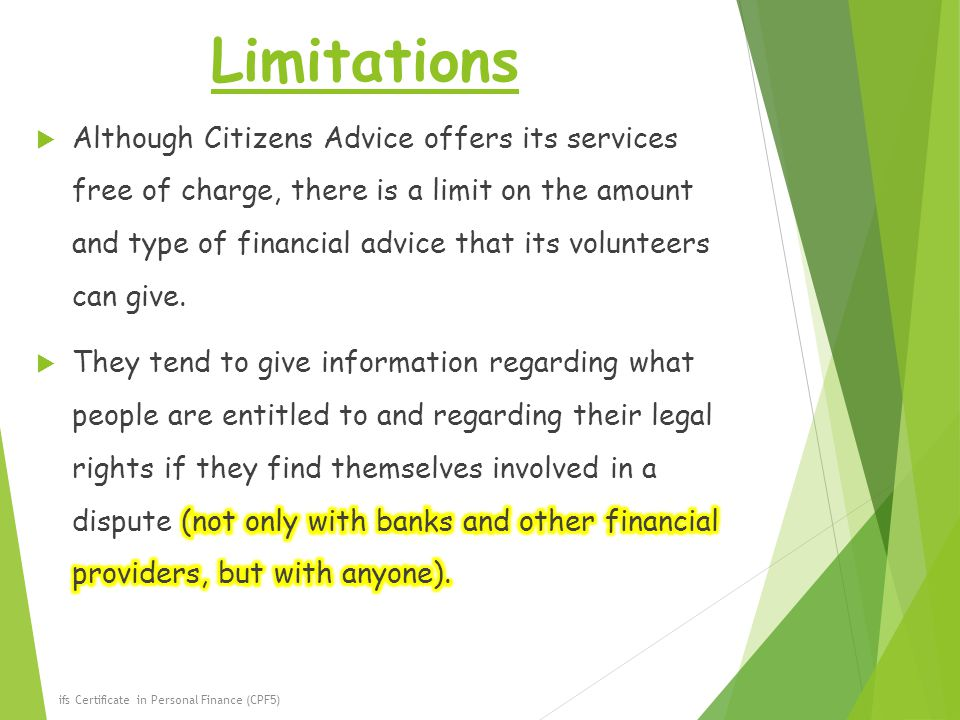 Limitations ifs Certificate in Personal Finance (CPF5)
