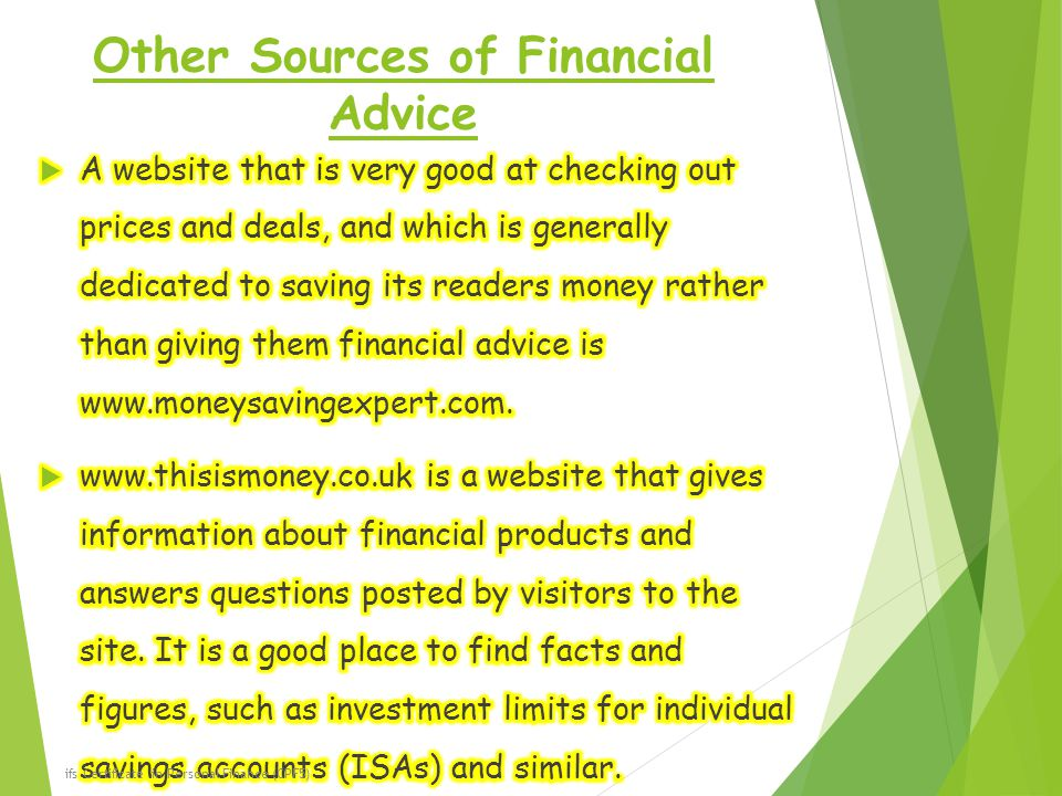 Other Sources of Financial Advice ifs Certificate in Personal Finance (CPF5)