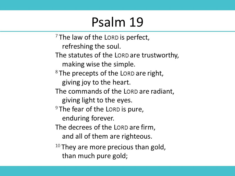 Psalm 19 7 The law of the L ORD is perfect, refreshing the soul.