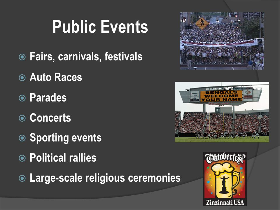 Public Events  Fairs, carnivals, festivals  Auto Races  Parades  Concerts  Sporting events  Political rallies  Large-scale religious ceremonies