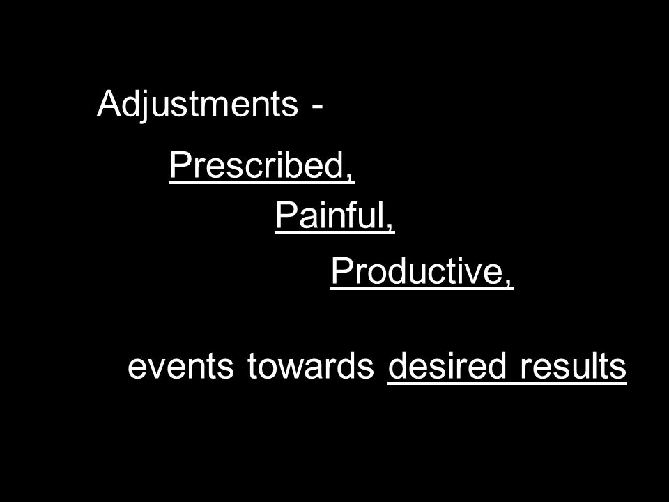 Adjustments - Prescribed, Painful, Productive, events towards desired results