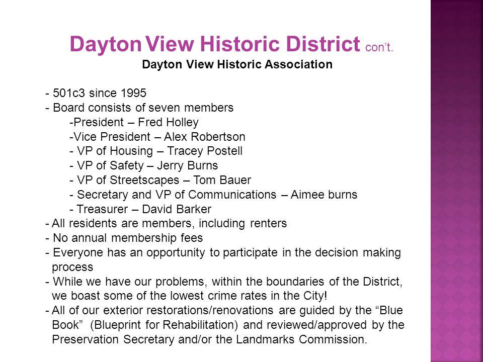 Dayton View Historic District con't.