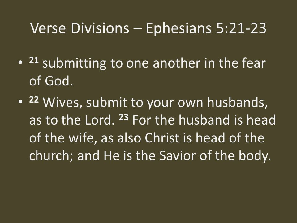 Verse Divisions – Ephesians 5:21-23 21 submitting to one another in the fear of God.