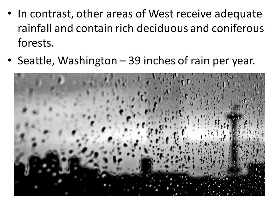 In contrast, other areas of West receive adequate rainfall and contain rich deciduous and coniferous forests. Seattle, Washington – 39 inches of rain