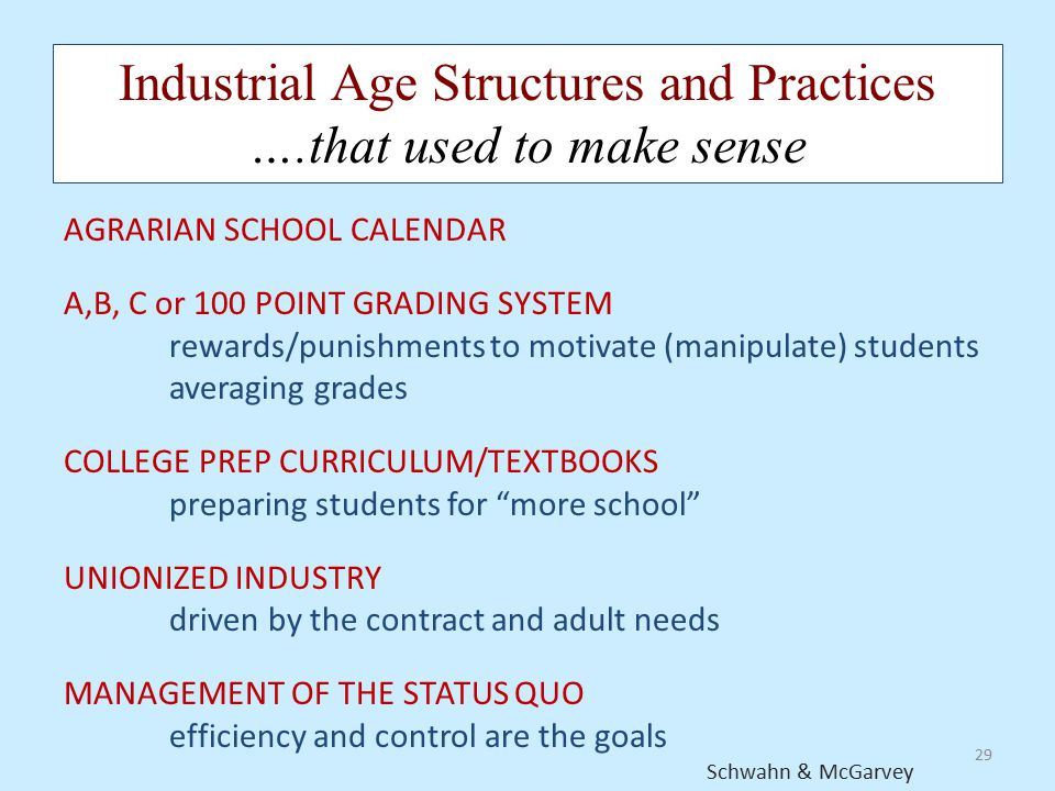 29 Industrial Age Structures and Practices ….that used to make sense AGRARIAN SCHOOL CALENDAR A,B, C or 100 POINT GRADING SYSTEM rewards/punishments t