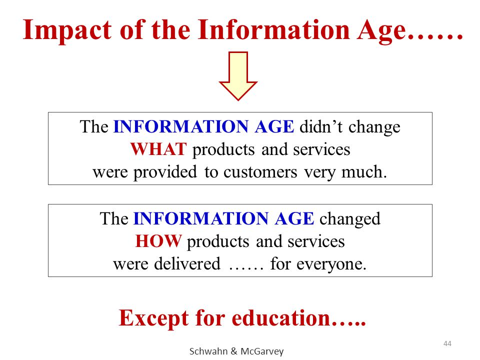 44 The INFORMATION AGE didn't change WHAT products and services were provided to customers very much. Impact of the Information Age…… The INFORMATION
