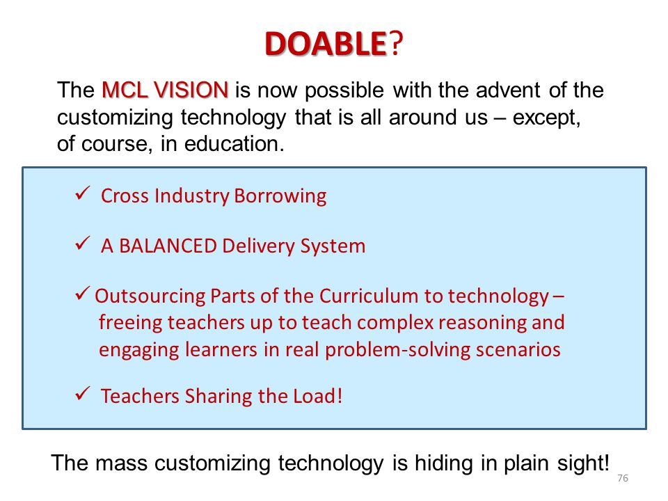 76 DOABLE DOABLE? MCL VISION The MCL VISION is now possible with the advent of the customizing technology that is all around us – except, of course, i