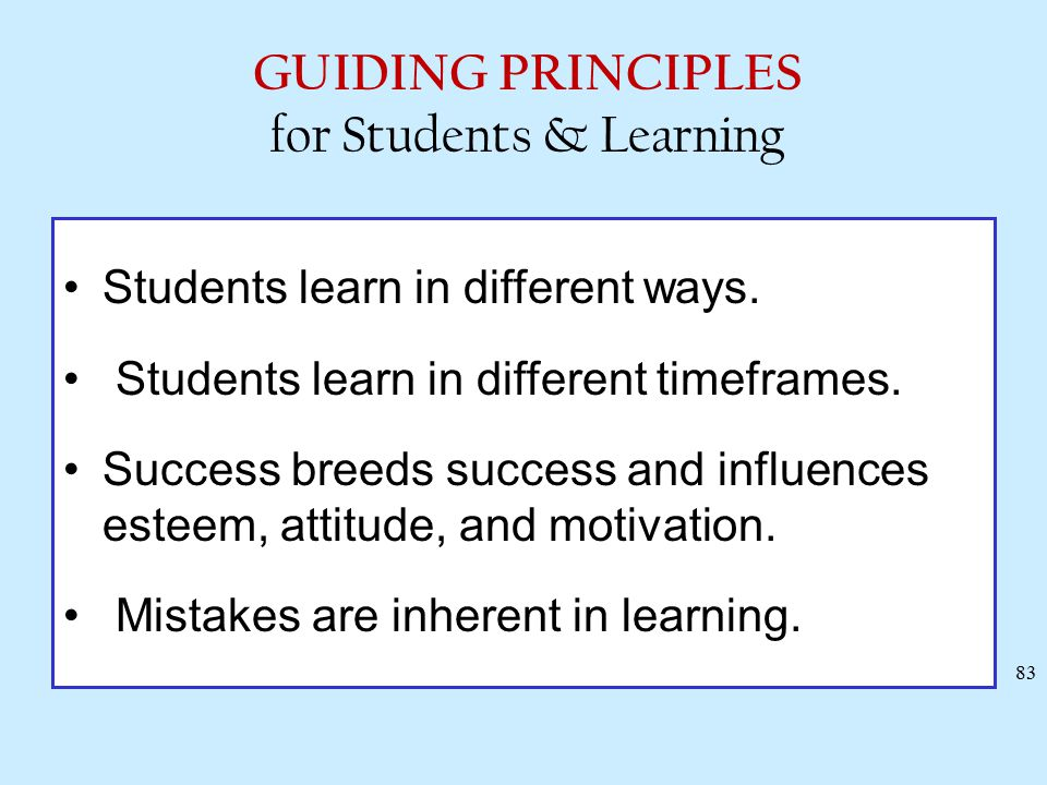 Some Generalizations from the Research on Learning Students learn in different ways. Students learn in different timeframes. Success breeds success an