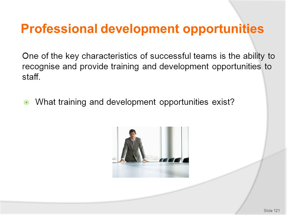Professional development opportunities One of the key characteristics of successful teams is the ability to recognise and provide training and develop