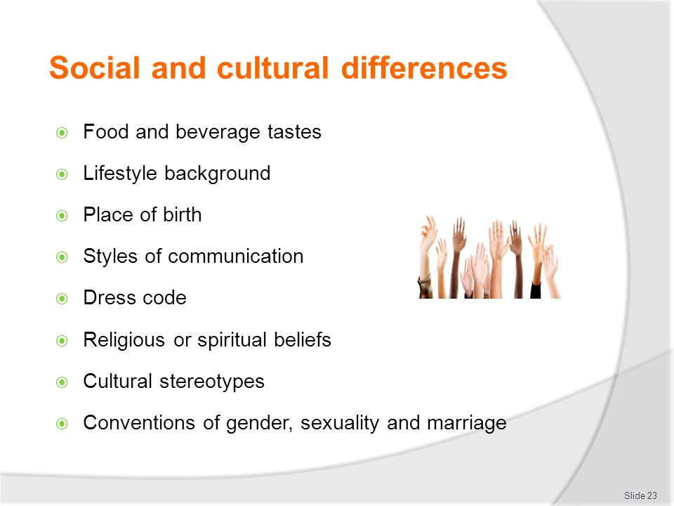 Social and cultural differences  Food and beverage tastes  Lifestyle background  Place of birth  Styles of communication  Dress code  Religious