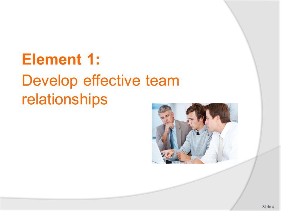 Element 1: Develop effective team relationships Slide 4