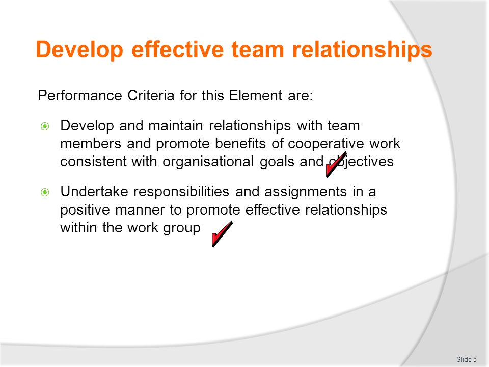 Develop effective team relationships Performance Criteria for this Element are:  Develop and maintain relationships with team members and promote ben