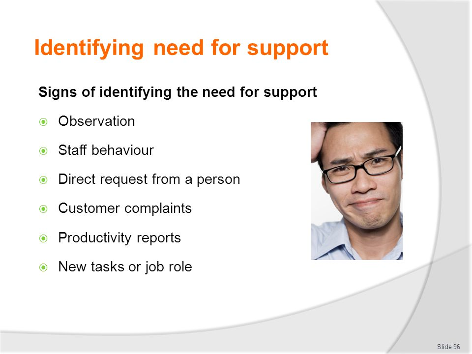 Identifying need for support Signs of identifying the need for support  Observation  Staff behaviour  Direct request from a person  Customer compl