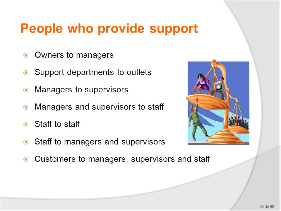 People who provide support  Owners to managers  Support departments to outlets  Managers to supervisors  Managers and supervisors to staff  Staff