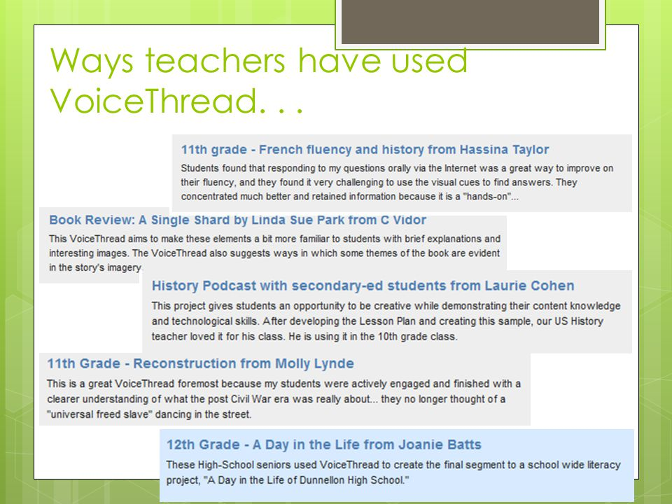 Ways teachers have used VoiceThread...