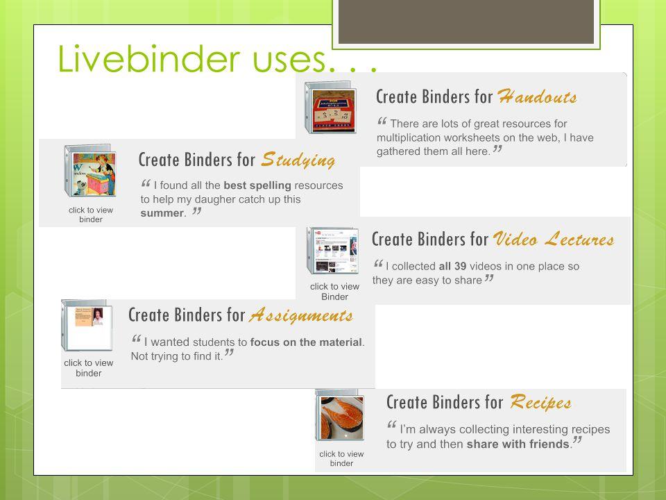 Livebinder uses...