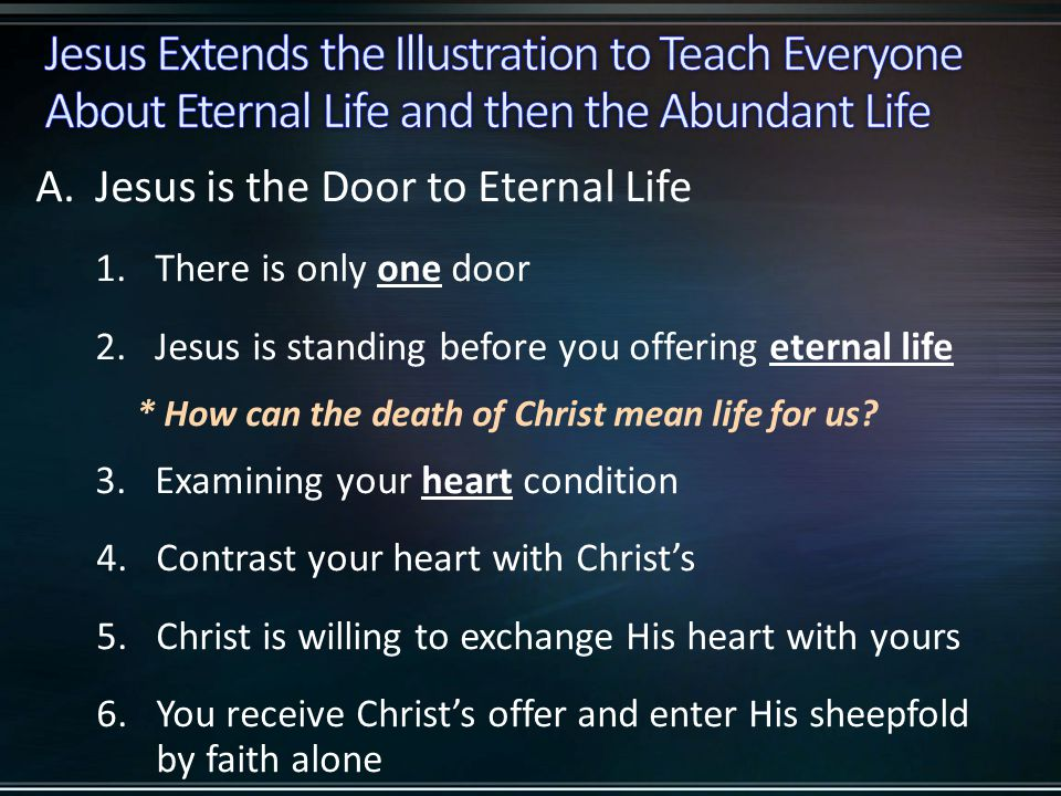 A.Jesus is the Door to Eternal Life 1.There is only one door 2.Jesus is standing before you offering eternal life * How can the death of Christ mean life for us.