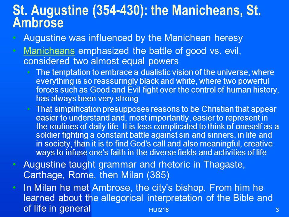 HUI2163 St.Augustine (354-430): the Manicheans, St.