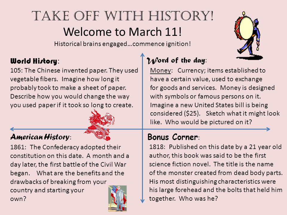 Take off with history! Welcome to March 11! Historical brains engaged…commence ignition! World History : American History : Word of the day : Bonus Co